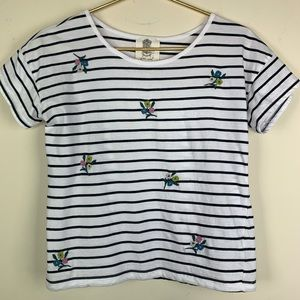 Lili's Closet embroidered striped top, XS